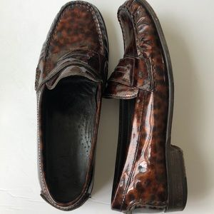 Cole Haan Leopard Patent Leather Loafer Size 7.5